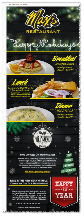 Newsletter Campaign of Max Restaurant