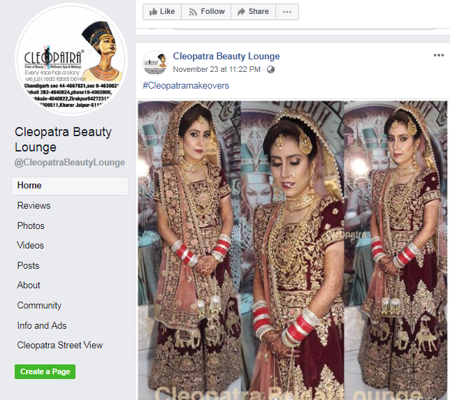 Cleopatra Salon Facebook Page
